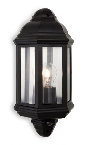 Firstlight 8656BK Black Polycarbonate Park Wall Light with PIR